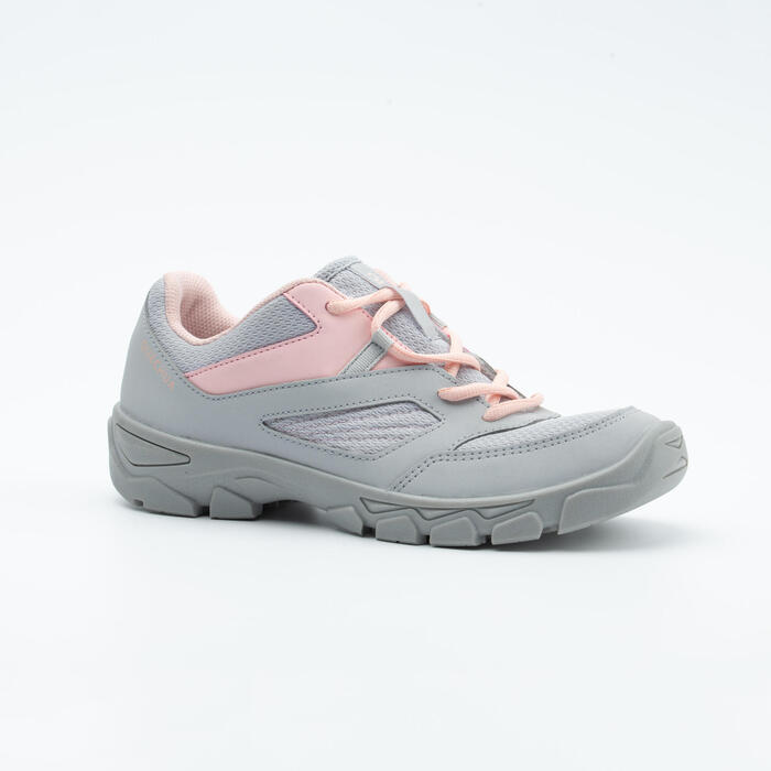 LACE-UP MOUNTAIN HIKING SHOES - MH100 - GREY/PINK - KIDS - SIZE 35 TO 38