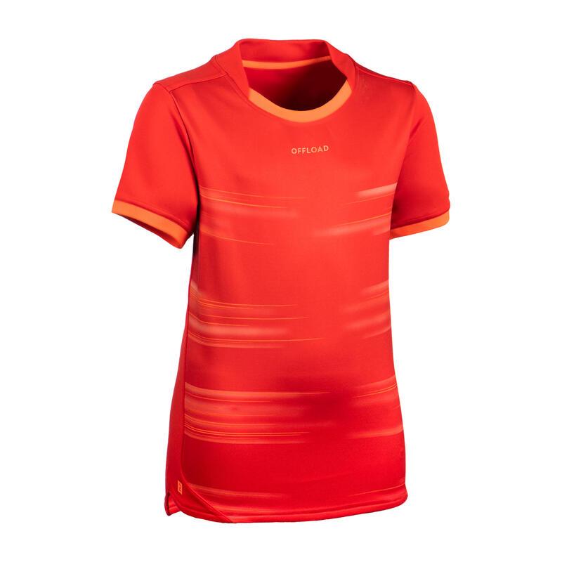 Rugbyshirt met korte mouwen voor kinderen R500 rood