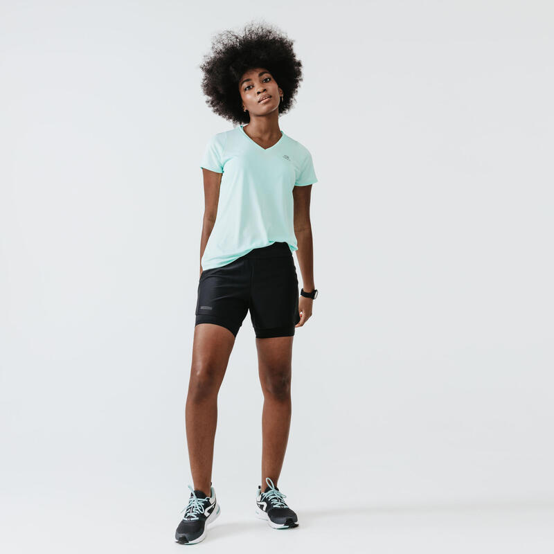 RUN DRY + WOMEN'S SHORTS WITH BUILT-IN BRIEFS - BLACK