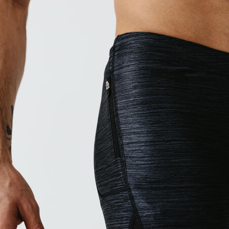 KALENJI DRY+ MEN'S BREATHABLE RUNNING CROPPED TROUSERS - MOTTLED GREY