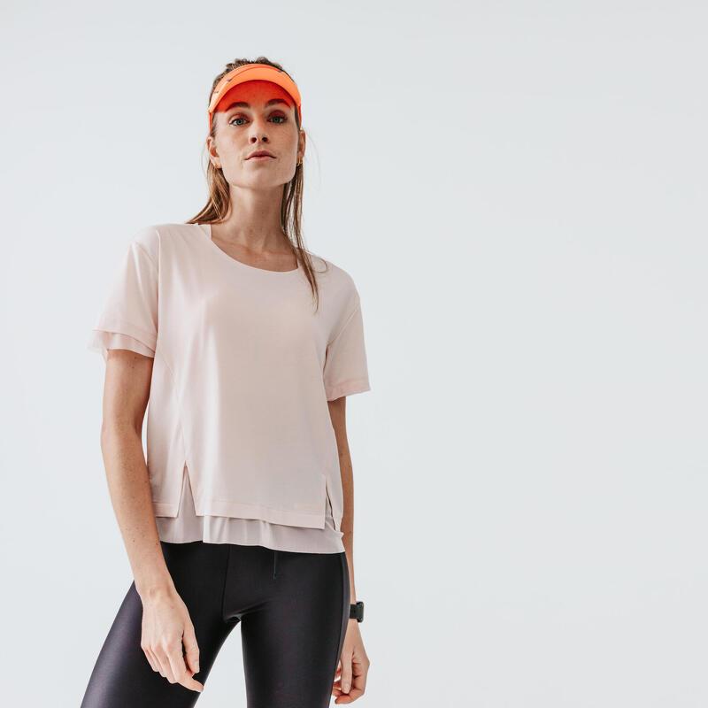 T-shirt de running manches courtes respirant femme - Feel rose