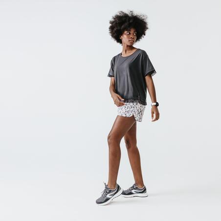 T-SHIRT DE RUNNING FEMME RUN FEEL GRIS