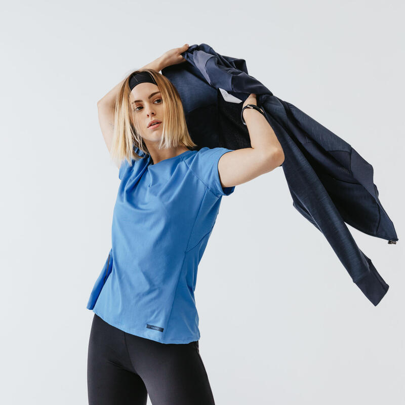 RUN DRY + WOMEN'S RUNNING T-SHIRT - SKY BLUE