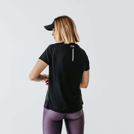 T-SHIRT DE RUNNING FEMME RUN DRY NOIR