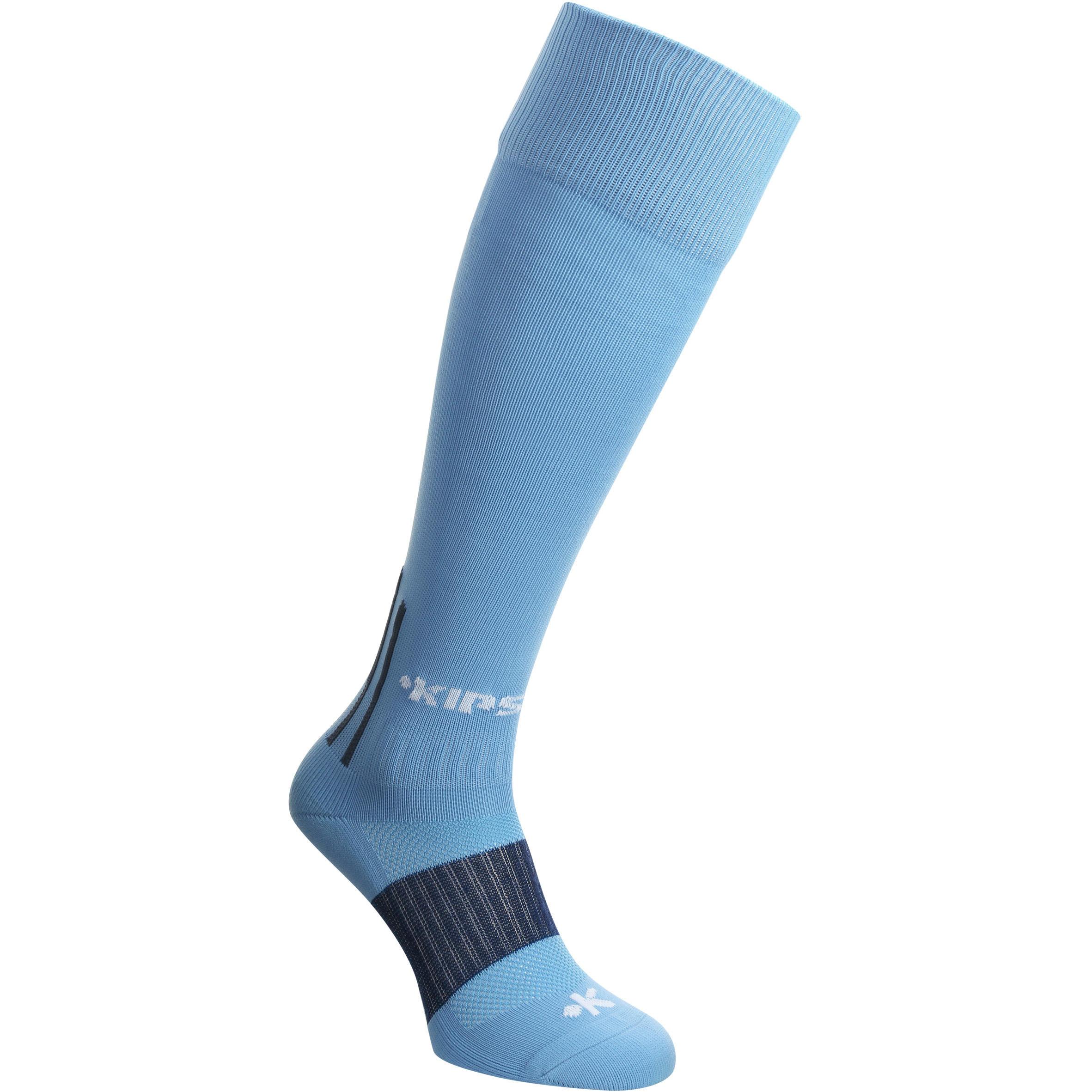 Medias largas de fútbol adulto F 500 azul claro