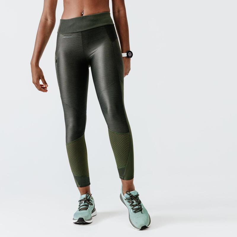 Legging de running long sans courture femme - RunDry Feel kaki