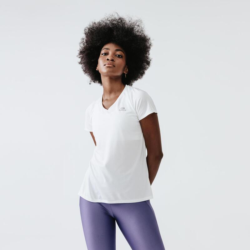 T-shirt de running manches courtes respirant femme - Dry blanc