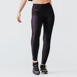 女款透氣排汗跑步緊身長褲 KALENJI RUN DRY - 黑色