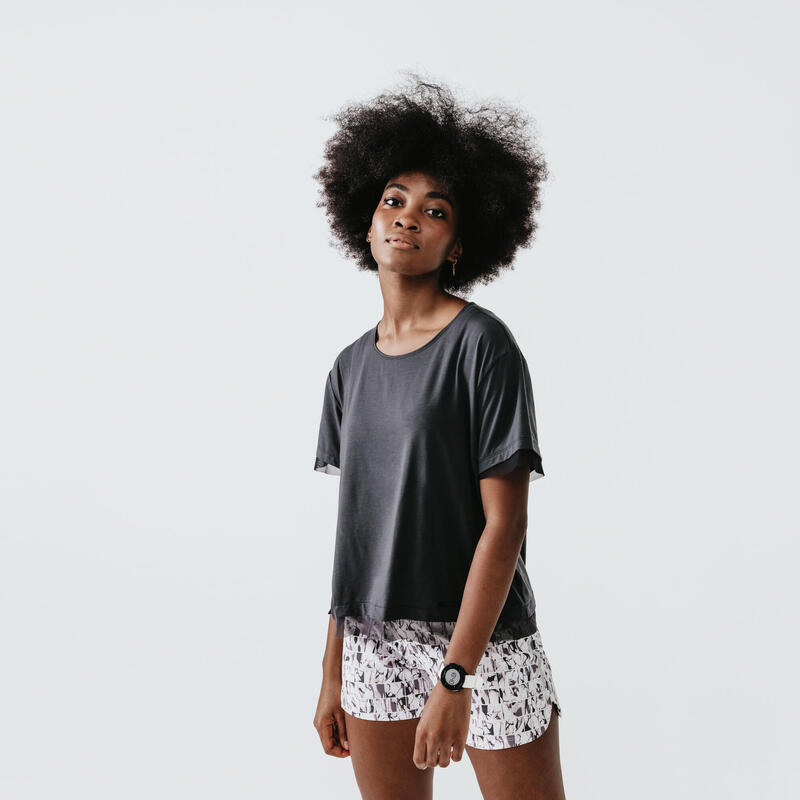 T-shirt de running manches courtes respirant femme - Feel gris