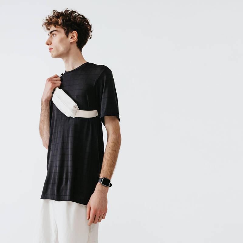 PÁNSKÉ OBLEČENÍ NA JOGGING DO TEPLÉHO POČASÍ Běh - TRIČKO DRY+ FEEL ČERNÉ  KALENJI - Běžecké oblečení