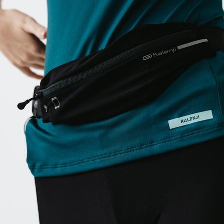 Adjustable running belt for any size of smartphone and keys - black