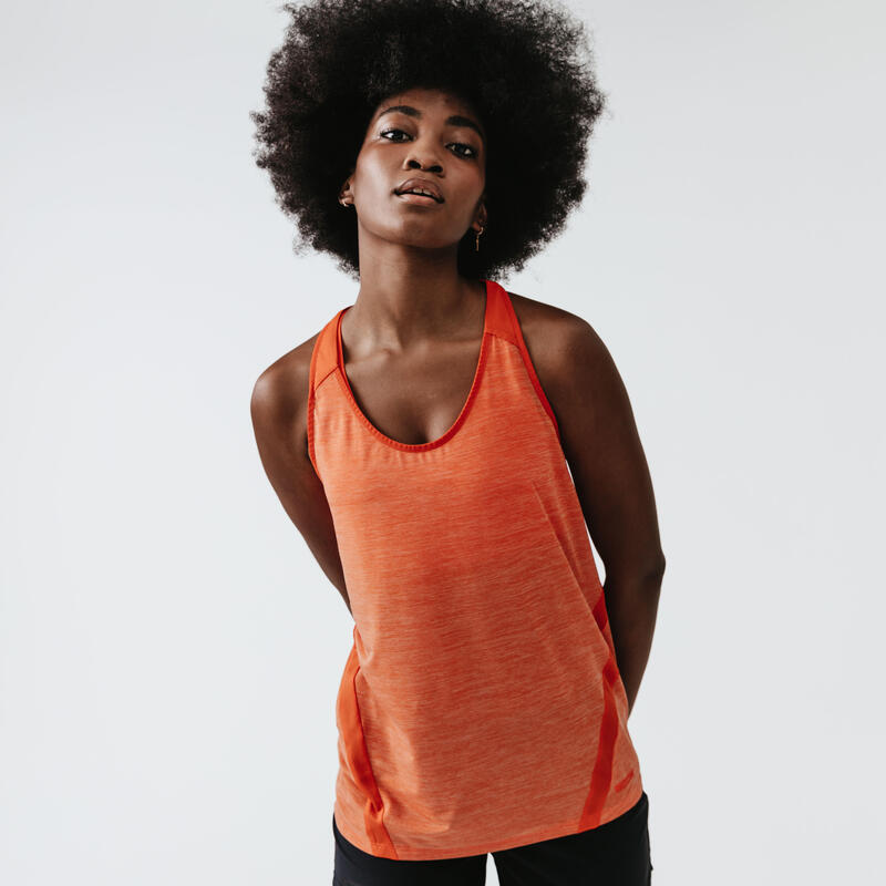 Camiseta Sin Mangas Running Run Light Mujer Naranja