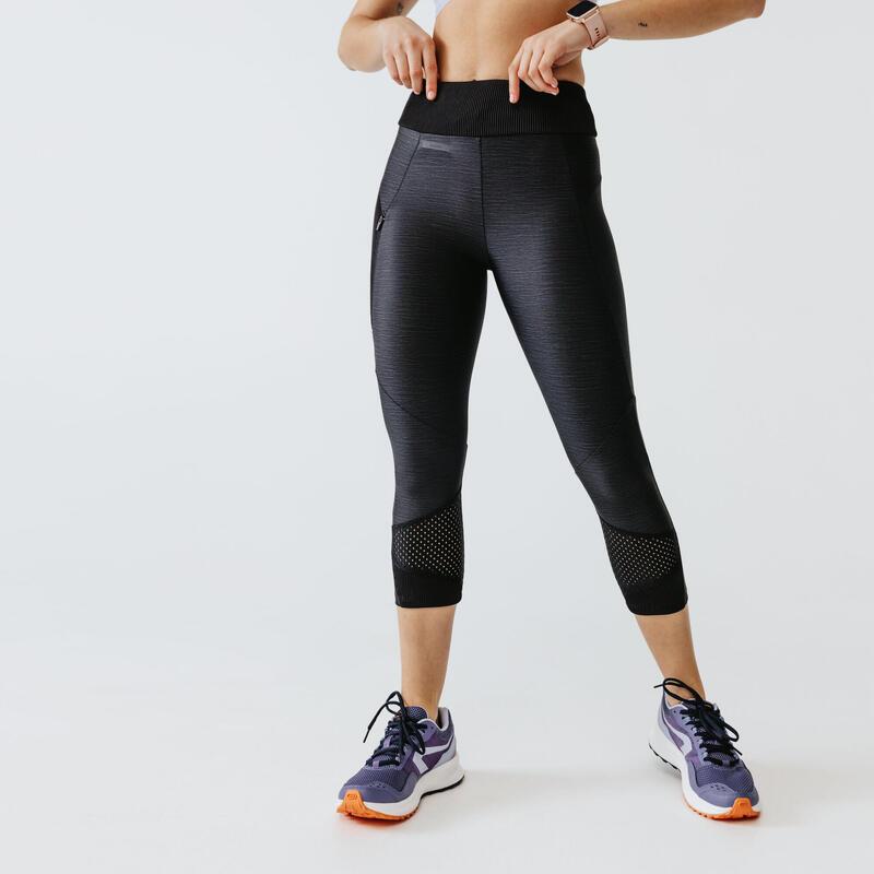 Legging de running court sans couture femme - RunDry+ Feel violet noir