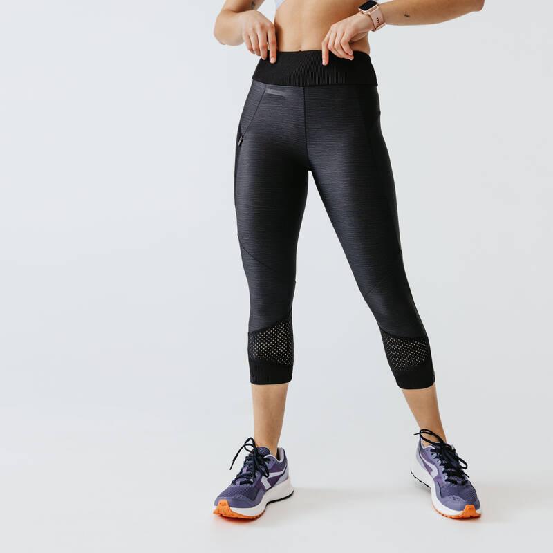 DÁMSKÉ OBLEČENÍ NA JOGGING - TEPLÉ POČASÍ, PRAVIDELNÉ POUŽITÍ Běh - LEGÍNY RUN DRY+ FEEL ČERNÉ  KALENJI - Běžecké oblečení