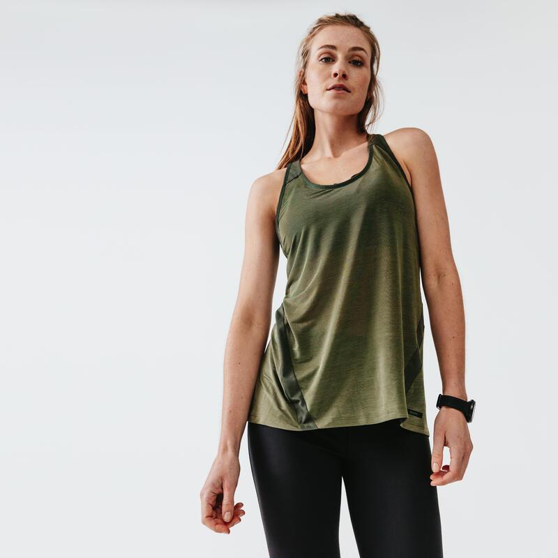 Canotta running donna RUN LIGHT verde militare