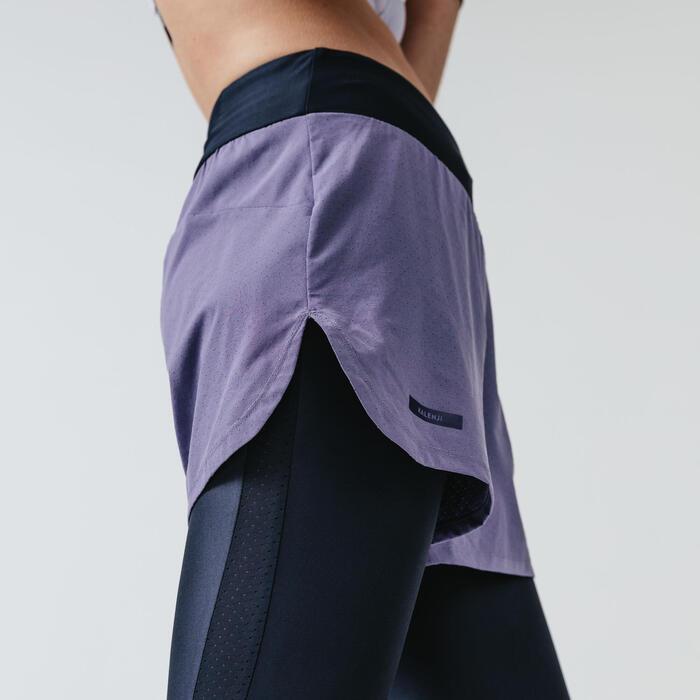 女款2合1短褲/緊身褲RUN DRY+ - 軍藍色