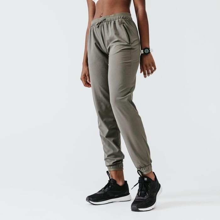 女款跑步長褲RUN DRY - 灰色卡其色