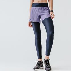 女款2合1跑步短褲/緊身褲Run Dry+ - 軍藍色