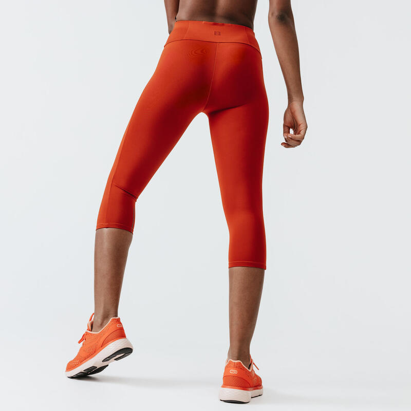 LEGGING COURT RUN SUPPORT FEMME ORANGE BRIQUE