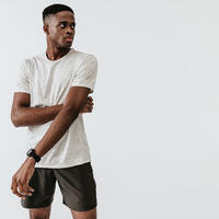 KALENJI DRY+ MEN'S BREATHABLE RUNNING SHORTS - DARK KHAKI