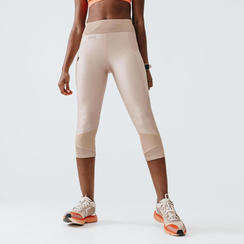 RUN DRY+ FEEL WOMEN'S SHORT RUNNING LEGGINGS - BEIGE