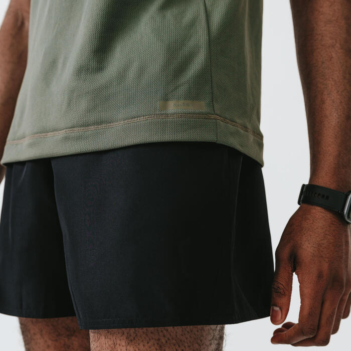 KALENJI DRY MEN'S BREATHABLE RUNNING T-SHIRT - ASHY KHAKI