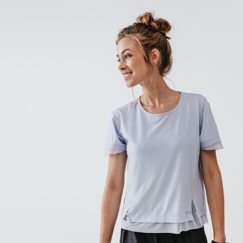 RUN FEEL WOMEN'S RUNNING T-SHIRT - PASTEL LAVENDER BLUE