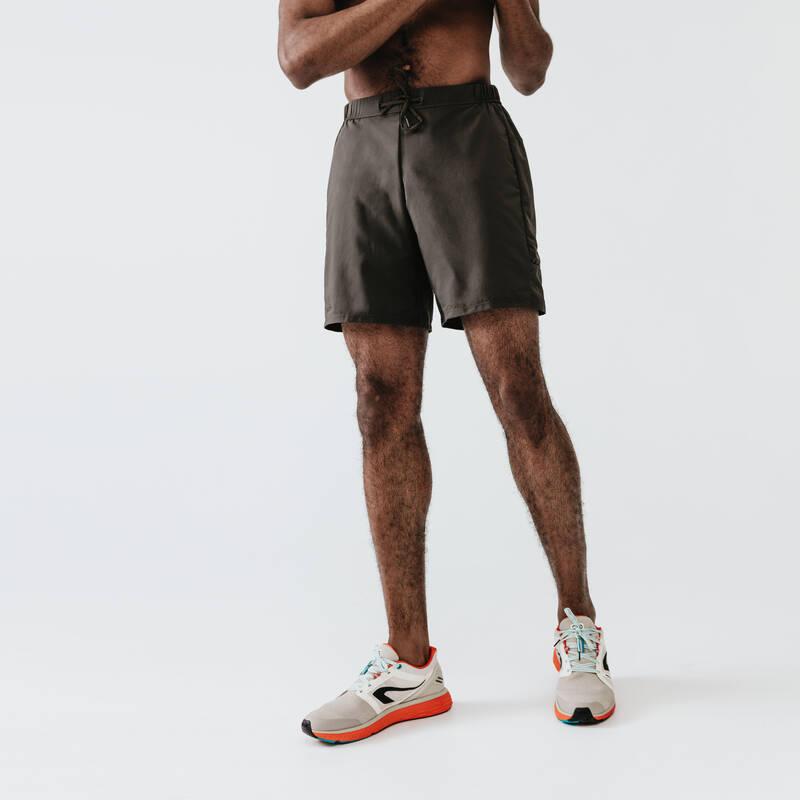 PÁNSKÉ OBLEČENÍ NA JOGGING DO TEPLÉHO POČASÍ Běh - KRAŤASY RUN DRY+ KHAKI  KALENJI - Běžecké oblečení