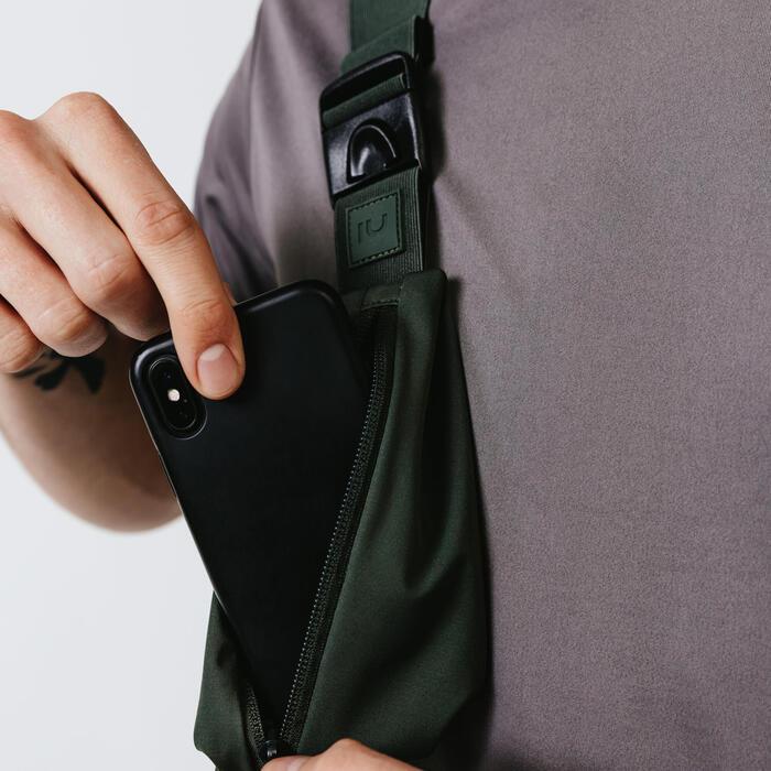 各尺寸智慧型手機與鑰匙舒適跑步帶 - 卡其色