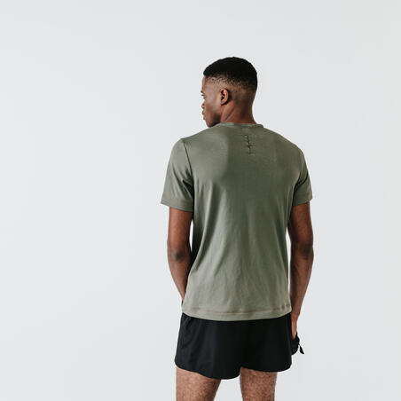 TEE SHIRT RUNNING HOMME RESPIRANT KALENJI DRY KAKI CENDRÉ