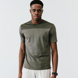 Men's Running Breathable T-Shirt Kalenji Dry+ Breath - khaki ash