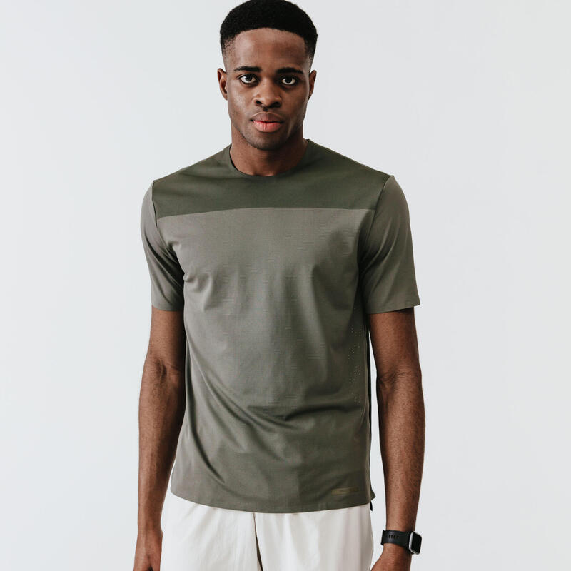 T-shirt running respirant et ventilé homme - Dry+ Breath kaki cendré