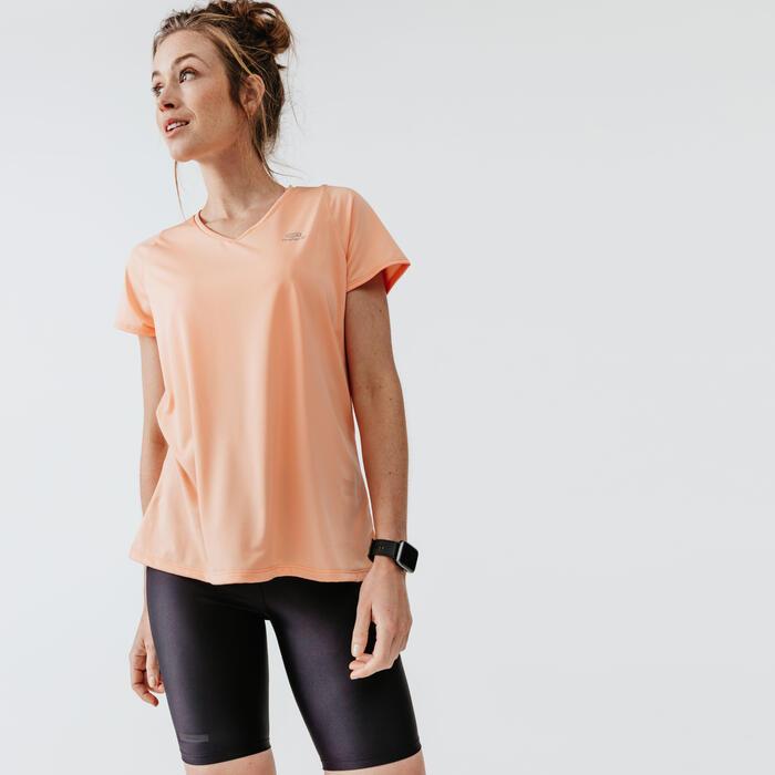 女款T恤RUN DRY - 粉橘色