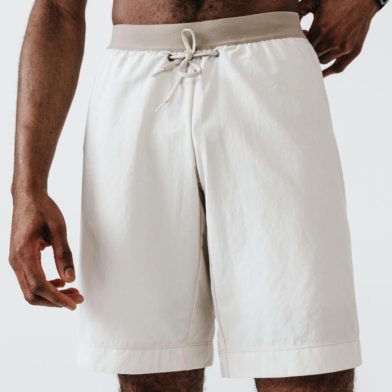 Ademende 2-in-1 hardloopshort met geïntegreerde boxer voor heren Dry+ beige