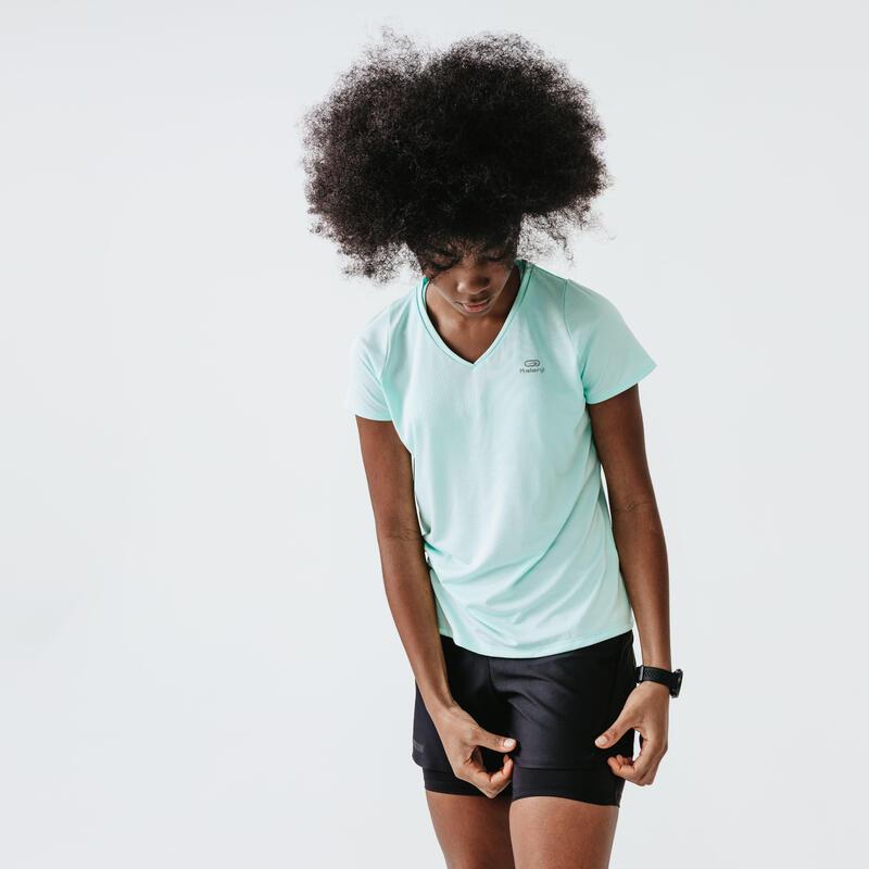 T-shirt de running manches courtes respirant femme - Dry vert