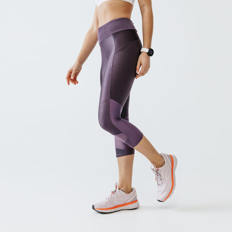 Legging de running court sans couture femme - RunDry+ Feel violet