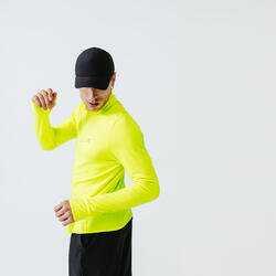 TEE SHIRT MANCHES LONGUES RUNNING RUN WARM JAUNE ACIDE FLUO HOMME