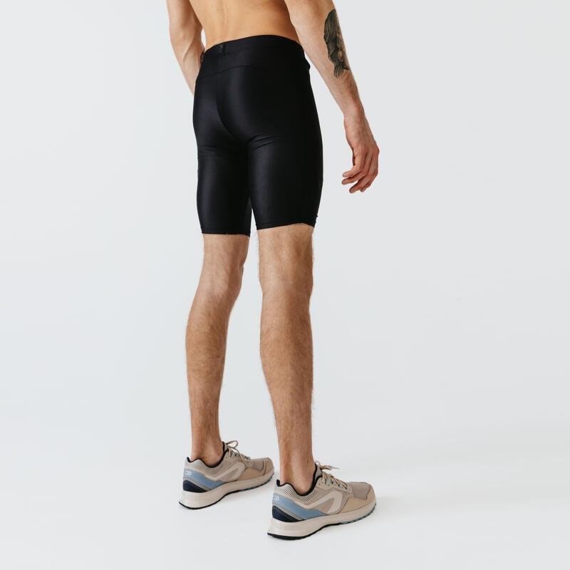 กางเกงขาสั้นผู้ชายทรงรัดรูปสำหรับใส่วิ่งรุ่น RUN DRY+ (สีดำ)