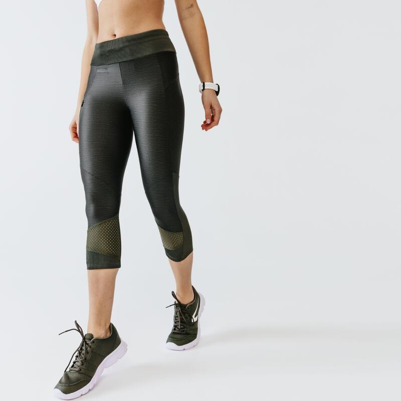 Pantaloni 3/4 running donna RUN DRY+ FEEL verde militare