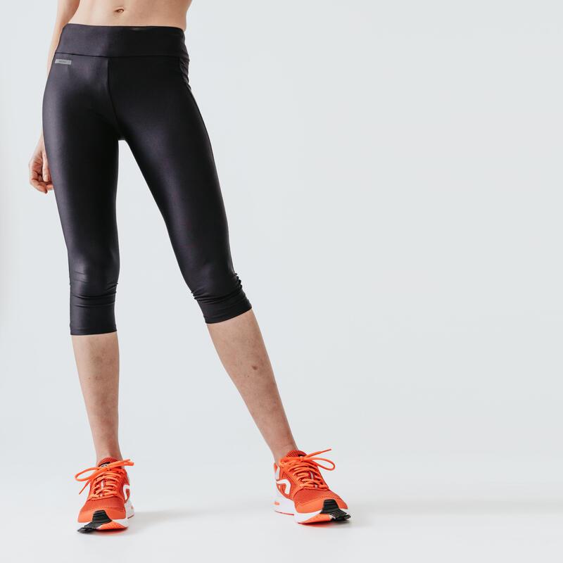 Legging de running court femme - RunDry noir