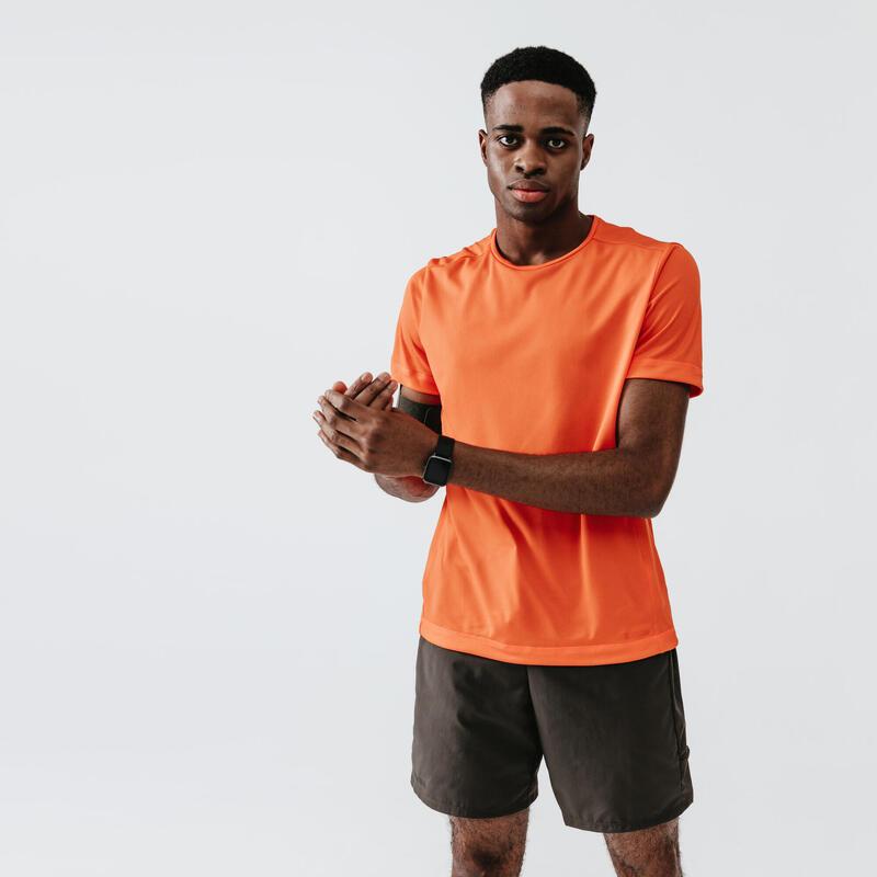 Camiseta Running Kalenji Dry Hombre Naranja Intenso Transpirable
