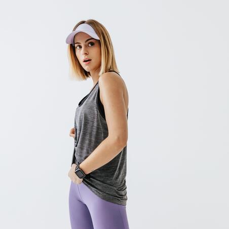 Playera Running Run Light Mujer Gris Carbono Sin Mangas