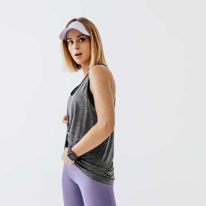 跑步緊身褲RUN SUPPORT - 淺灰紫色