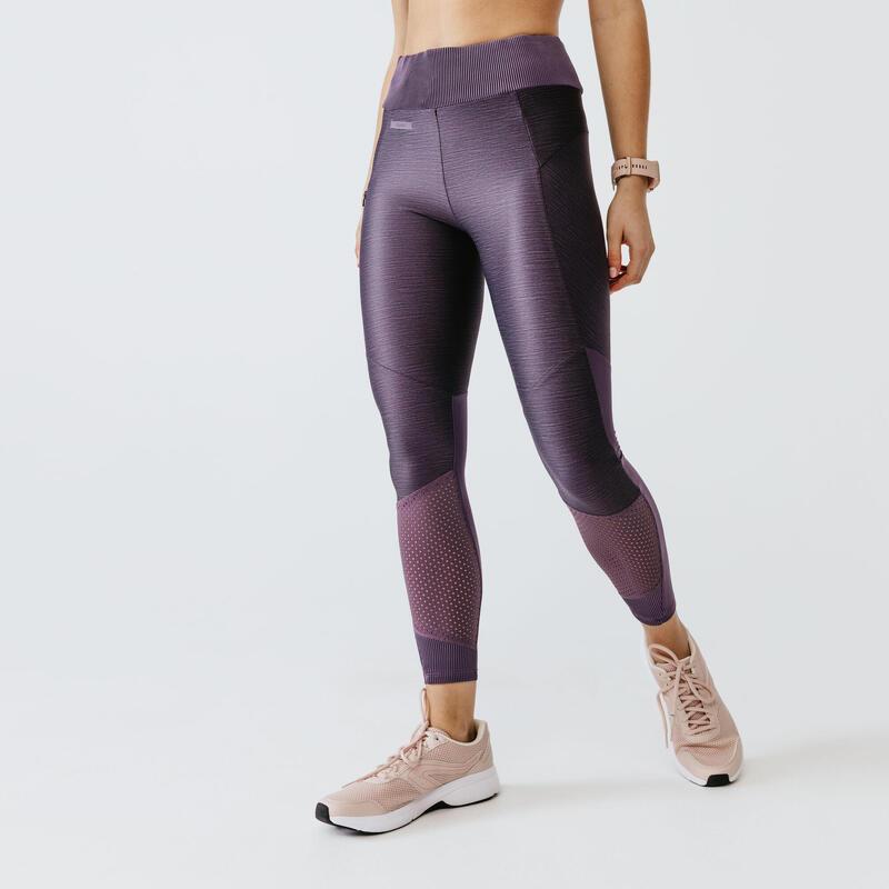 Legging de running long sans courture femme - RunDry Feel violet