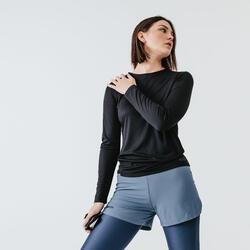 女款跑步長袖T恤Run Sun Protect - 黑色