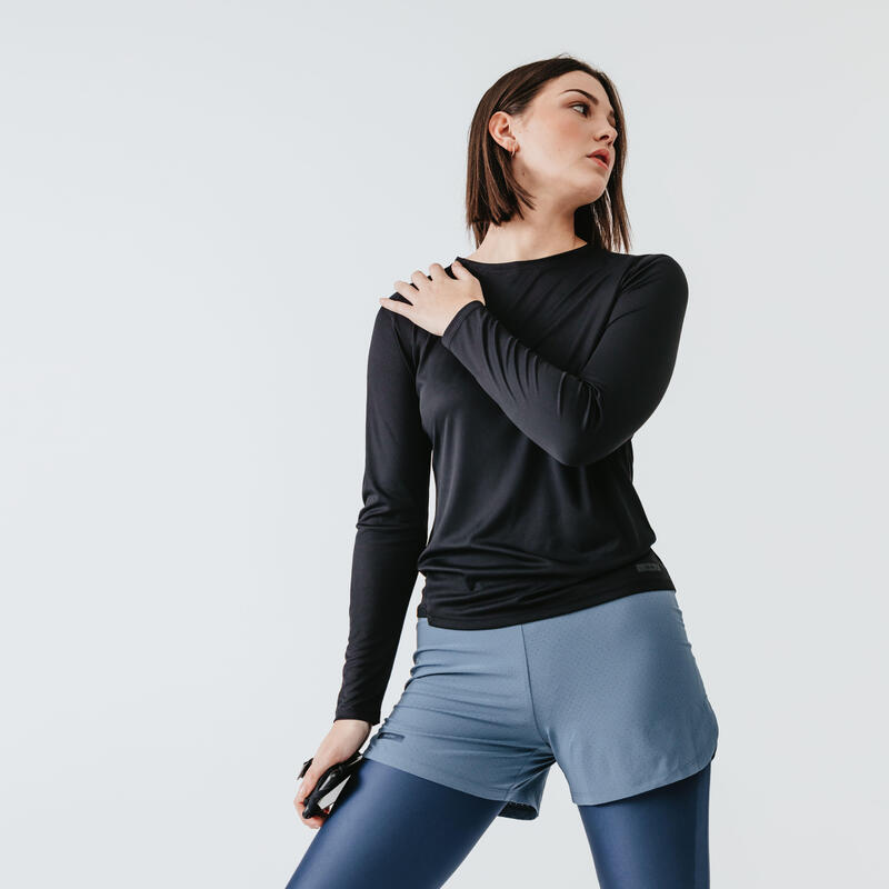 Women's Running T-Shirt Run Sun Protect Long-Sleeves - black