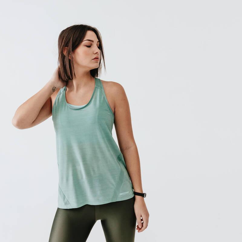 DÁMSKÉ PRODYŠNÉ OBLEČENÍ NA JOGGING Běh - TÍLKO RUN LIGHT ZELENO-ŠEDÉ  KALENJI - Běžecké oblečení