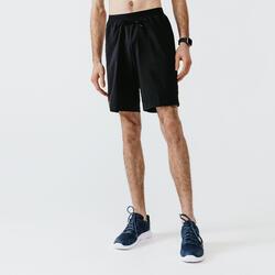 Ademende 2-in-1 hardloopshort met geïntegreerde boxer voor heren Dry+ zwart