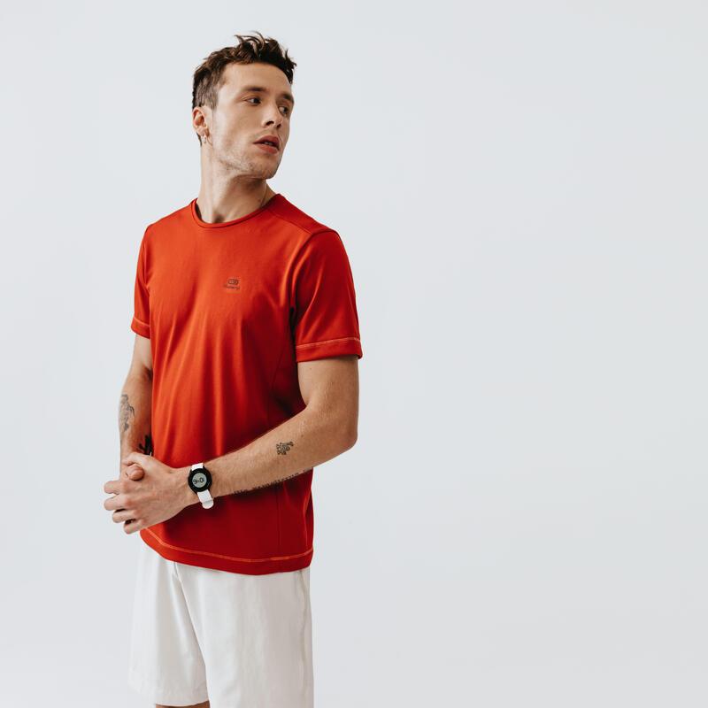 Camiseta Running Kalenji Dry Hombre Rojo Ladrillo Transpirable