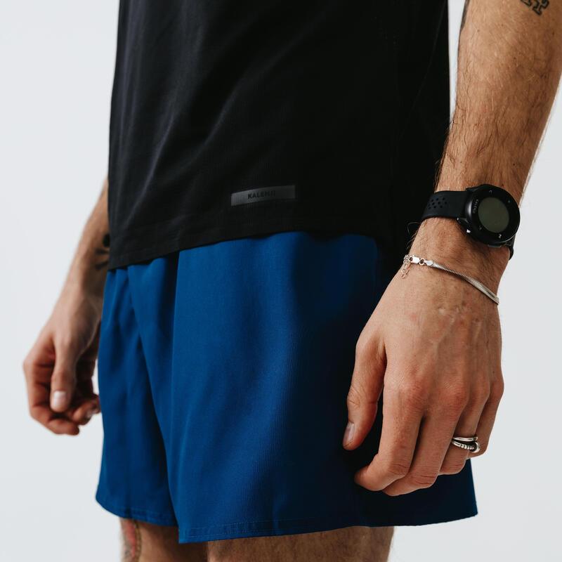 Ademende short voor hardlopen heren Dry Pruisisch blauw